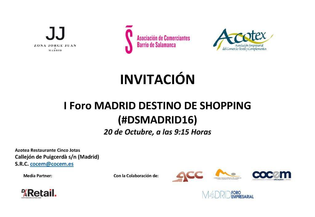 #DSMADRID16. 1er Foro Madrid Destino de Shopping