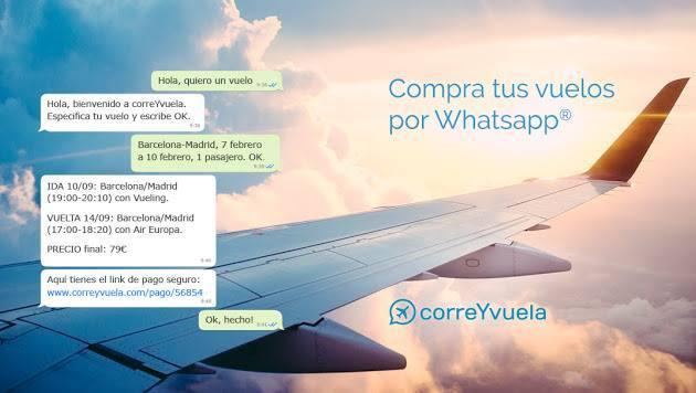 """CORREYVUELA, EL PRIMER """"BOT"""" DE VENTA DE VUELOS POR WATHSAPP"""