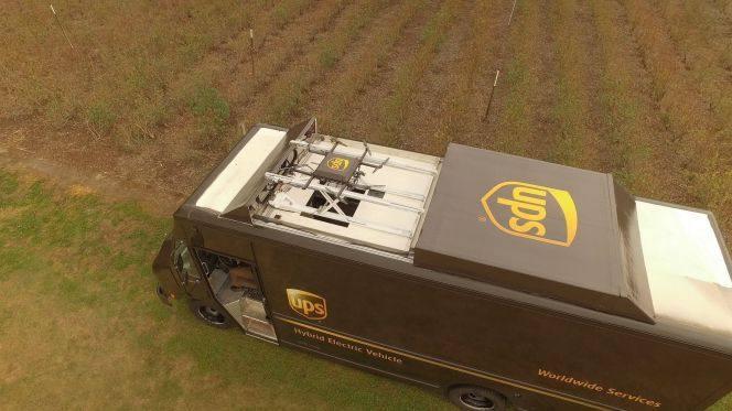 UPS entregará paquetes con drones desde el techo de sus camiones o furgonetas