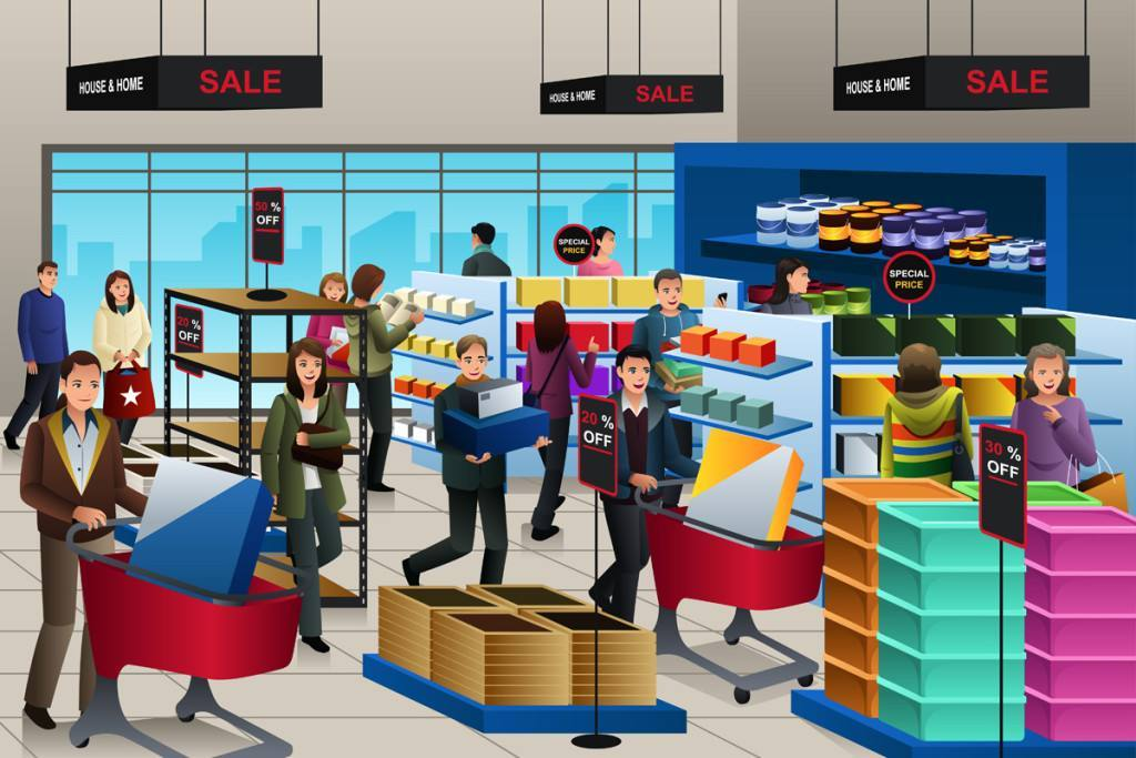A vector illustration of people shopping on black friday in a store