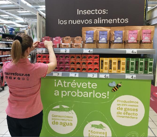 Carrefour, lanza una gama de alimentos a base de insectos