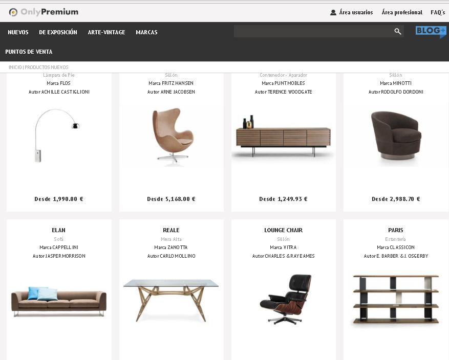 Only Premium, primer marketplace de mobiliario de firma, vintage original y arte