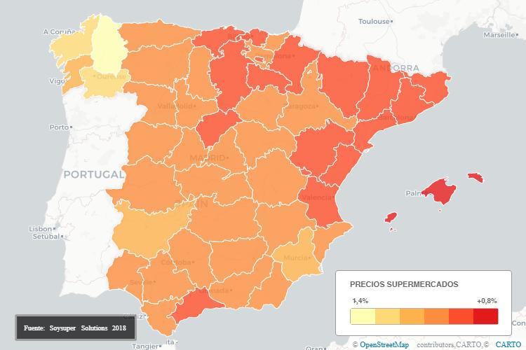 Precios en los supermercados online y su evolución por regiones