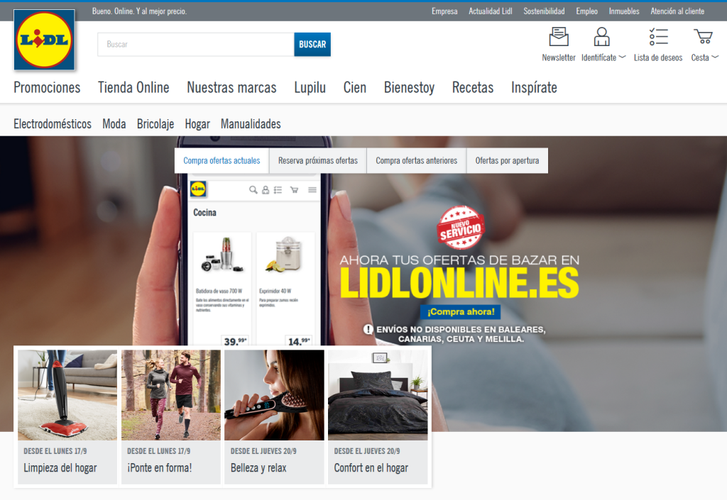 Lidl España, extiende su ecommerce de bazar a toda la Península