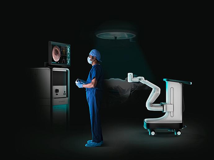 La tecnología quirúrgica robótica Monarch, de Auris Health, permite diagnosticar con precisión nódulos pulmonares periféricos pequeños y difíciles de alcanzar.