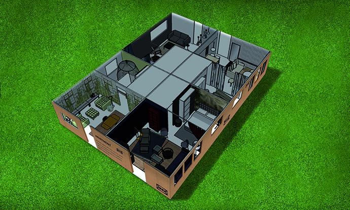 El futuro inquilino de la 'Casa IKEA' podrá disfrutar de uno de los cuatro apartamentos de 35 metros cuadrados.