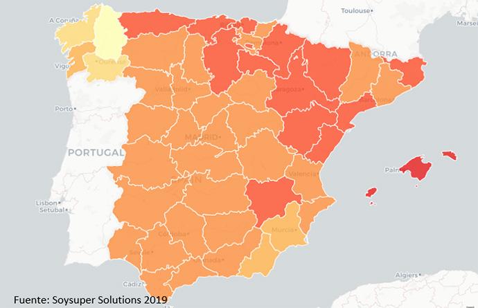 Mapa Barómetro precios supermercados Soysuper 2019