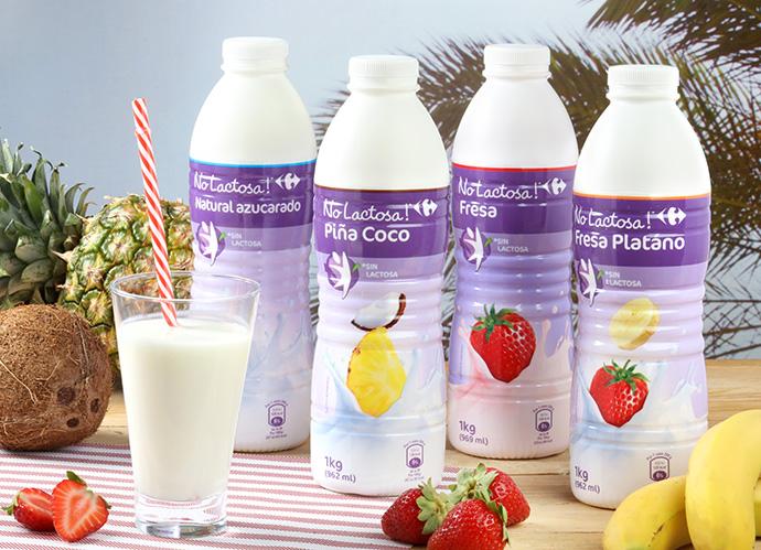 Carrefour refuerza su línea de yogur líquido sin lactosa