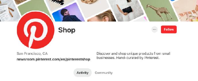 Pinterest Shop es una cuenta gestionada por la red social que muestra artículos del pequeño comercio
