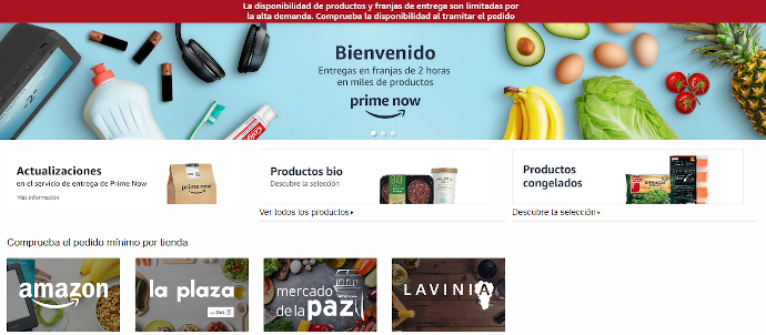 Amazon Prime Now se une al 'delivery' sin contacto