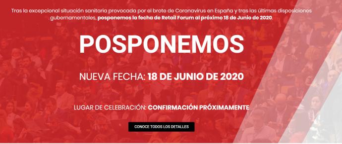 Retail Forum aplaza su celebración hasta junio por el coronavirus