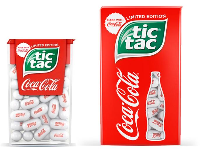 Los packs de edición limitada de Tic-Tac y Coca-Cola de 18gr y 49gr, respectivamente.