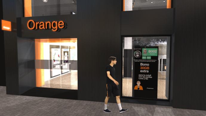 Orange incorpora una herramienta de control de aforo que, conectado con sus pantallas digitales, ayuda a informar en tiempo real a empleados y clientes