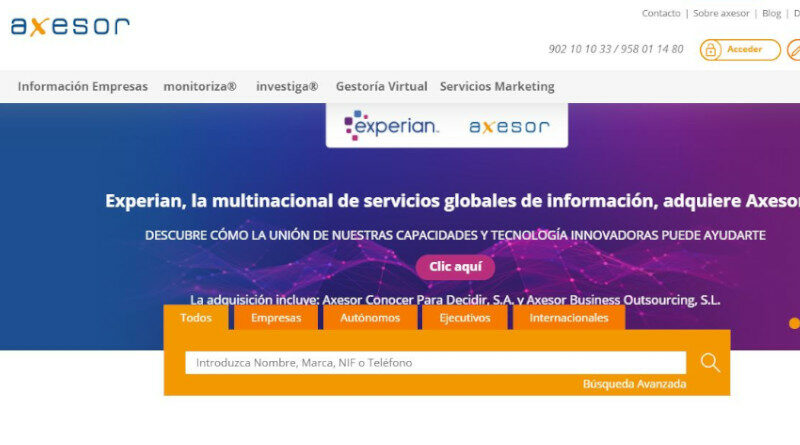 Experian compra Axesor para fortalecer su oferta de información al consumidor